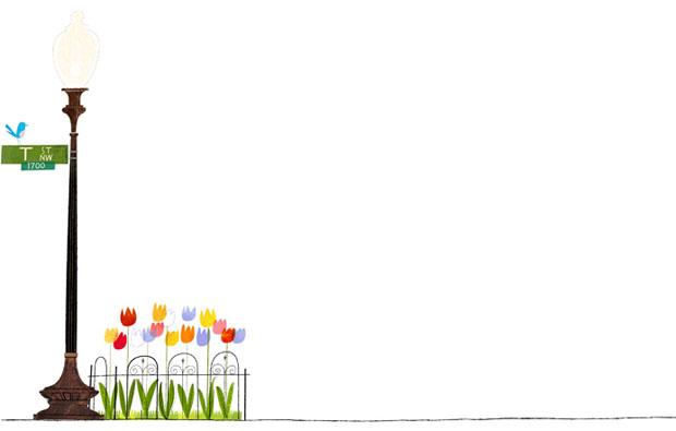 Jamey Christoph, ilustracion, illustration, washington, US, farola, parque