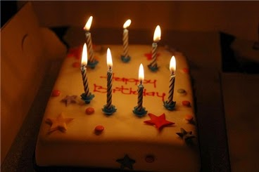 Birthday cake with seven candles
