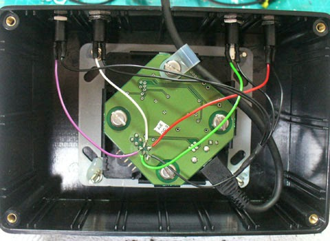 D.I.Y. analogue joystick. Image of the P.C.B. and wiring.