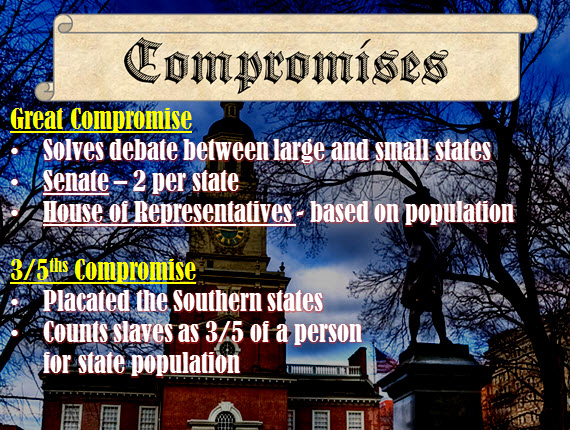 the compromises of the constitution Constitution through compromise roger sherman was the only man to sign all 4 of the important revolutionary documents: the association of 1774, the declaration of independence, the articles of confederation, and the constitution.