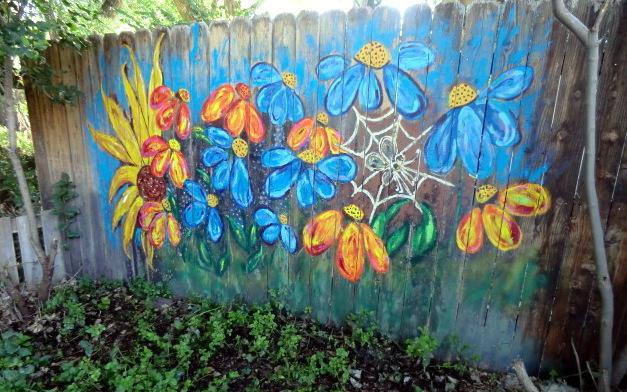 Nancy 39 s arts crafts outside art painted fence update for Garden fence artwork