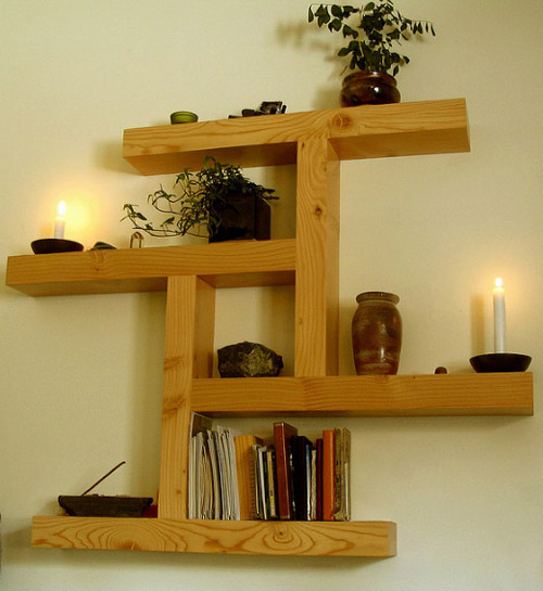 Wood Wall Shelves ~ Leftover wood wall shelf