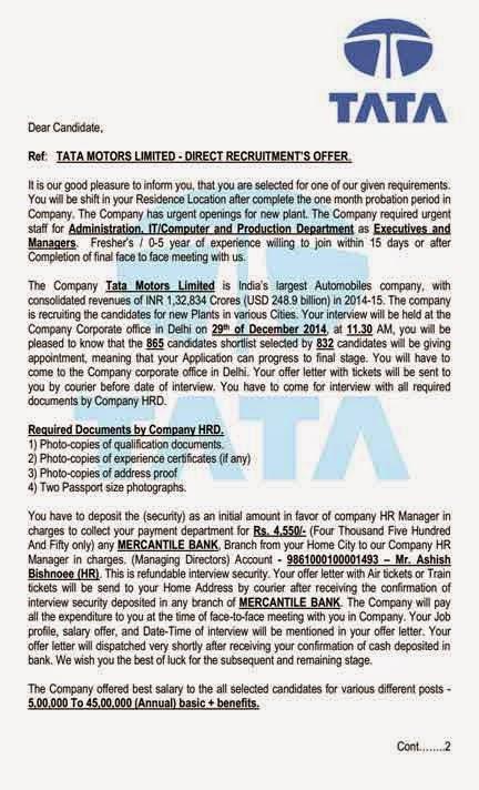 Scam Report Recruitment Scam TATA MOTORS INDIA Shared