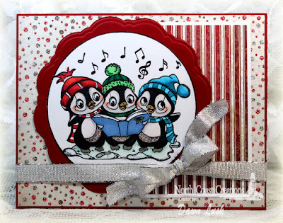North Coast Creations Stamp set: Caroling Penguins, Our Daily Bread Designs Custom Dies: Circle Ornaments, Doily, Our Daily Bread Designs Paper Collection: Christmas 2014