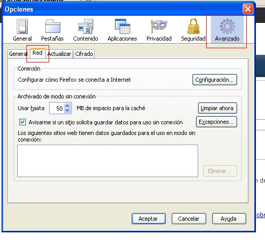 Configurar el proxy manual for Proxe vigila 3 manuale