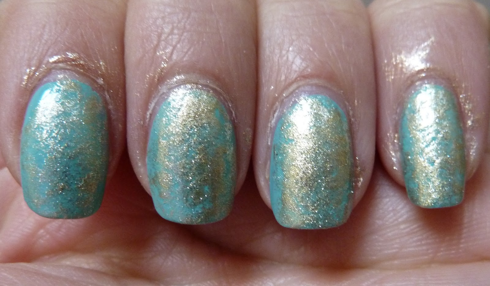NailsByStephanie: Tutorial: Turquoise Stone Saran Wrap Nails
