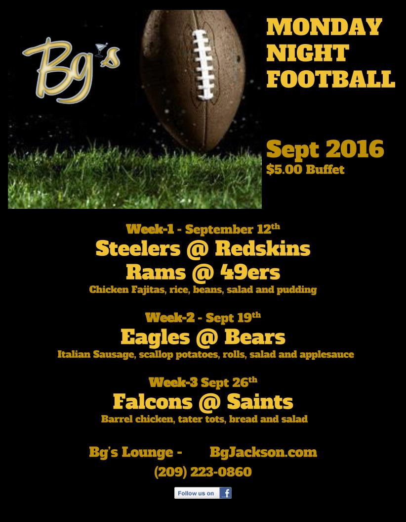 Monday Night Football at Bg's Lounge