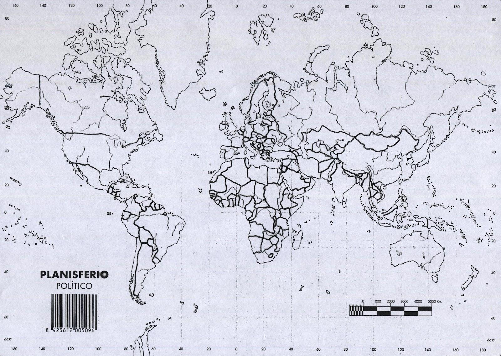 Geografa Alarcos 3A Mapa mundi poltico mudo para coordenadas