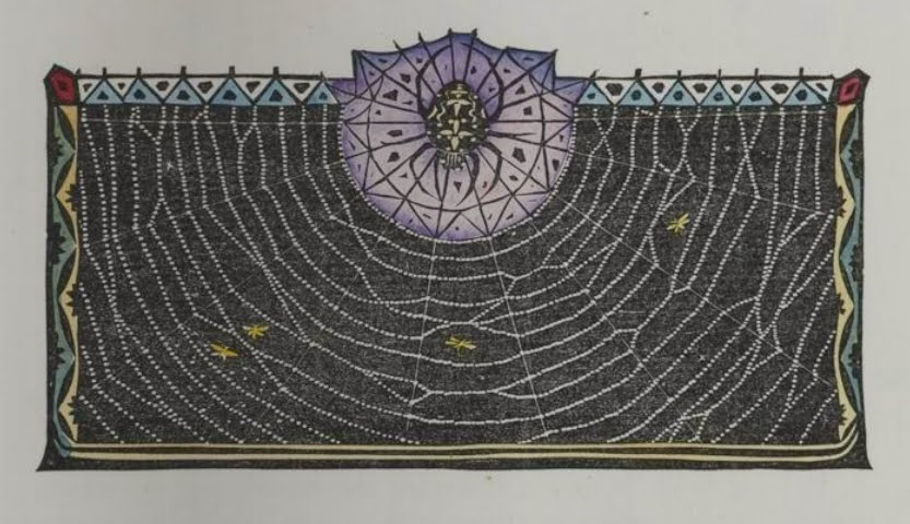 woodcut vignette of spider and web