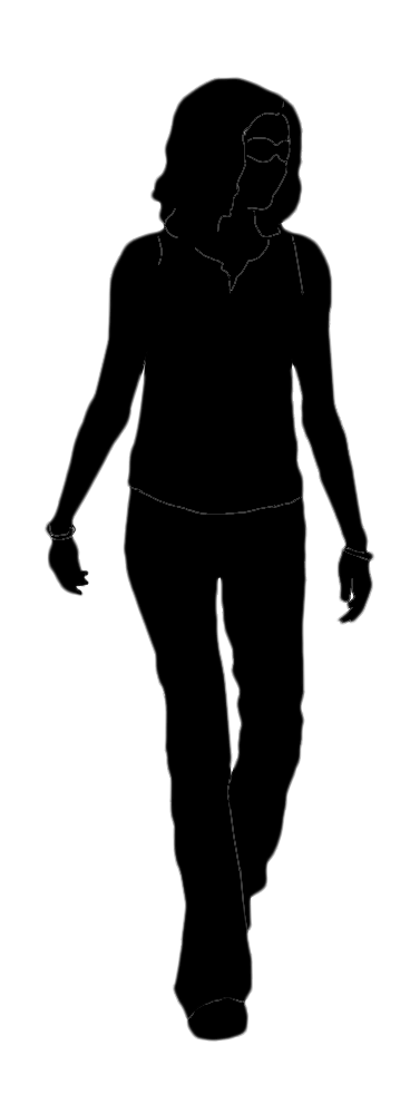silhouette of thin teenager