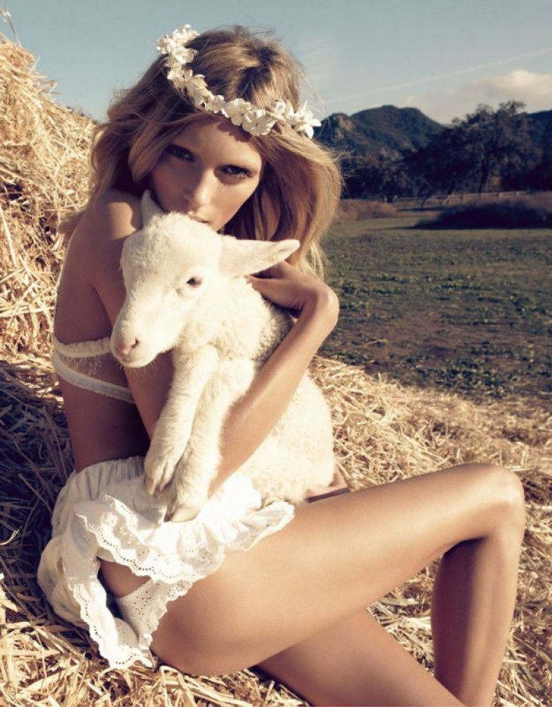 via fashioned by love | Anja Rubik in Vogue Nippon March 2010 (photography: Camilla Akrans, styling: Sissy Vian) | lambs in fashion editorials