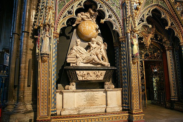 Monument to Sir Isaac Newton at Westminster Abbey