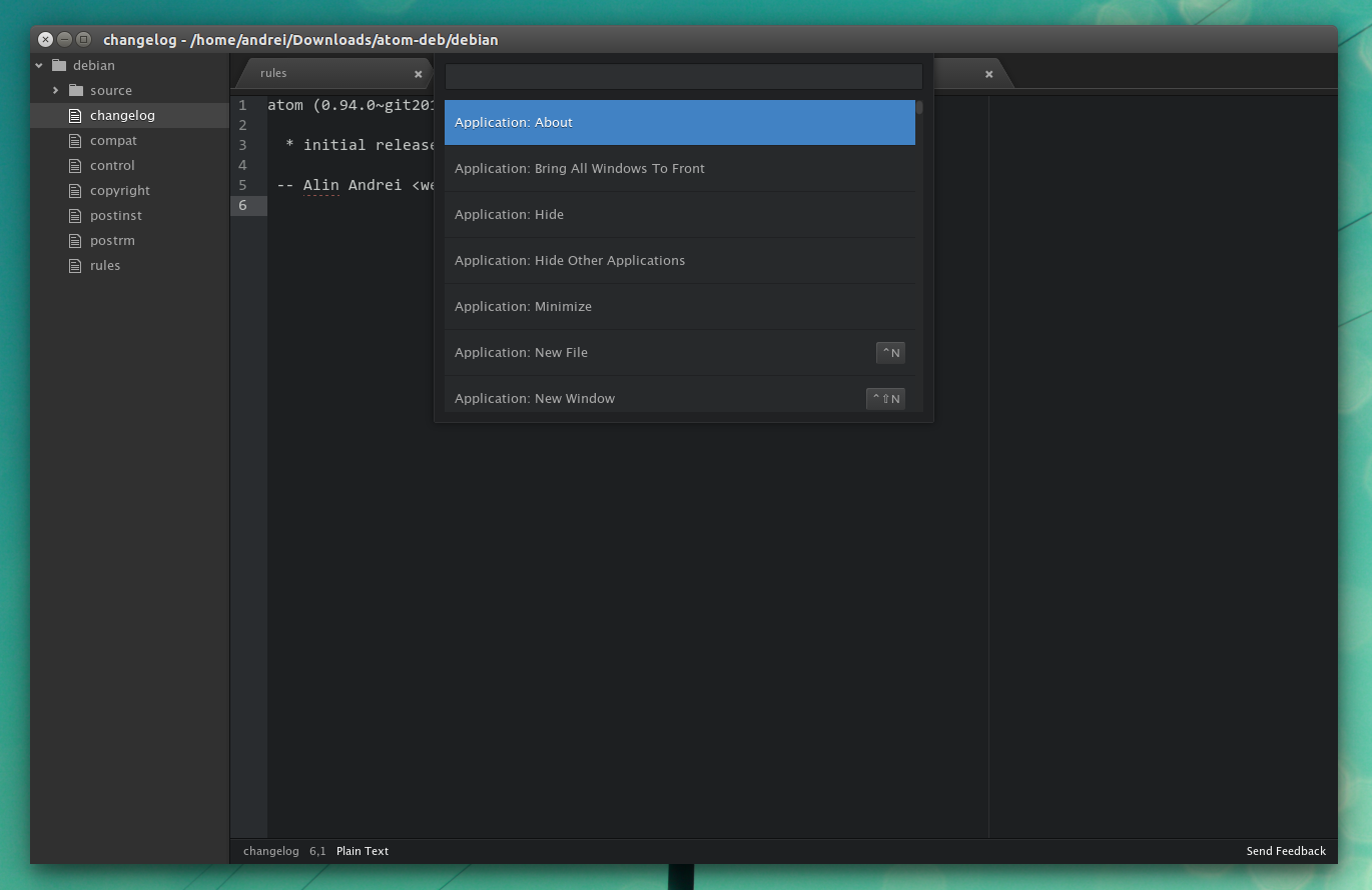 Atom text editor Linux