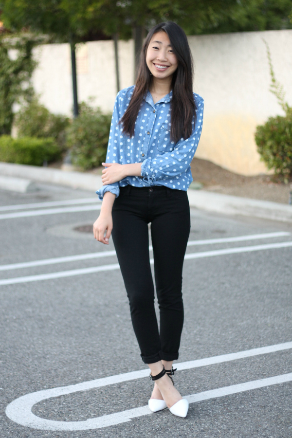 polka dot chambray shirt outfit