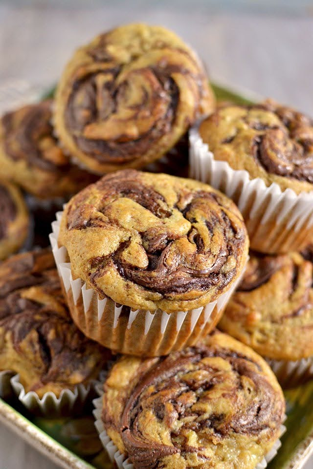 Eggless Banana Nutella Muffins