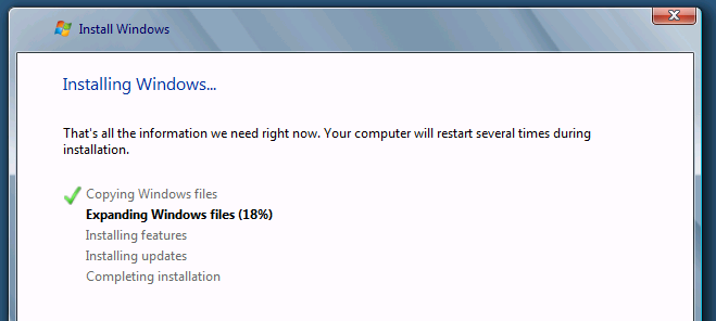 "the Windows installer kept hanging while ""Expanding Windows Files ..."