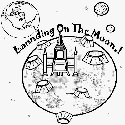 Landing on the moon planet and space solar system printing coloring pages and pictures for free art