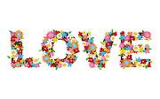 Love hecho de flores. Love formado con muchas flores de distintas clases. love hecho de flores