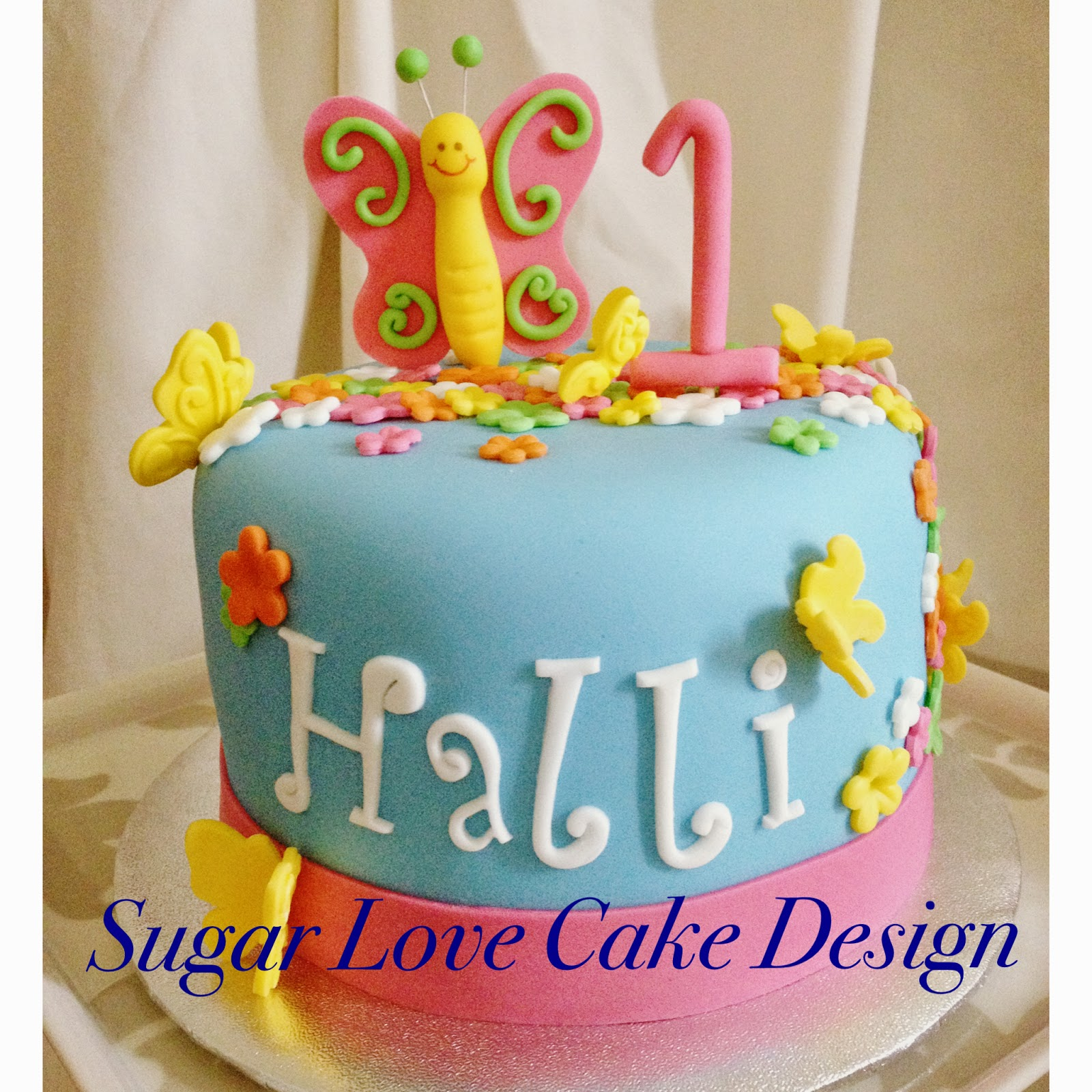Sugar Love Cake Design Butterflies and Flowers Smash Cake