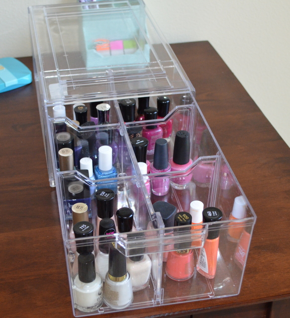 Nail polish Organization - acrylic athletic shoe box with dividers
