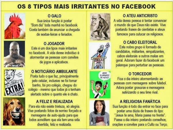Os 8 tipos mais irritantes no facebook