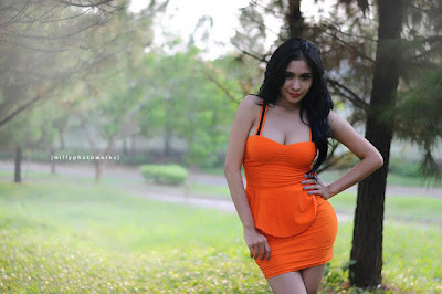 Bibie Julius in Orange Dress PhotoShoot