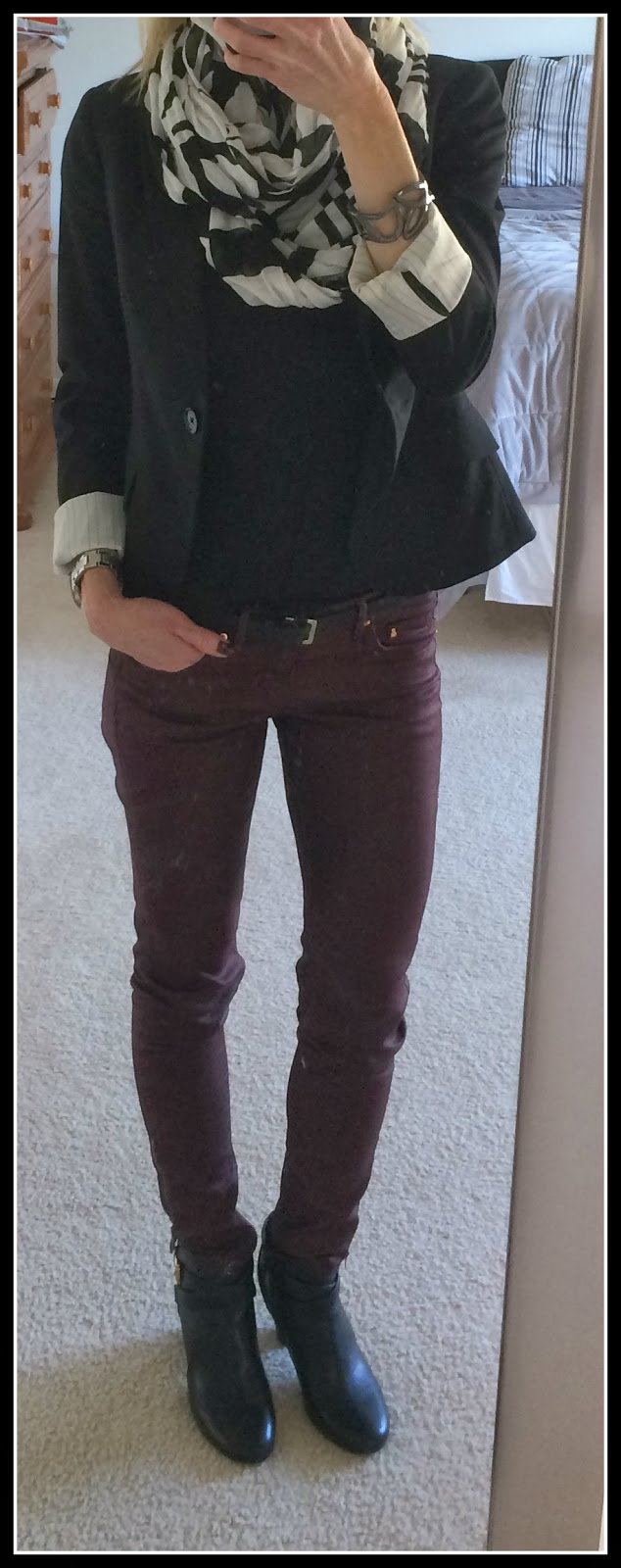 Express Studio Stretch One Button Jacket, Bateau neck zip shoulder tee, stripe infinity scarf, abstract scroll hinge bracelet, target kailey boot, booties, H&M maroon coated jeans