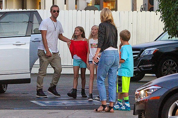 Chris Martin last week with Gwyneth Paltrow and their children