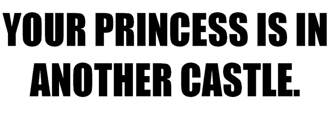 YOUR PRINCESS IS IN  ANOTHER CASTLE.