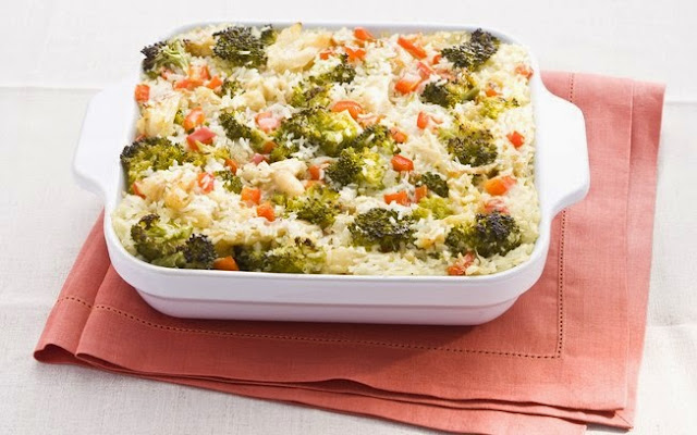 Today's recipe: oven baked rice with broccoli