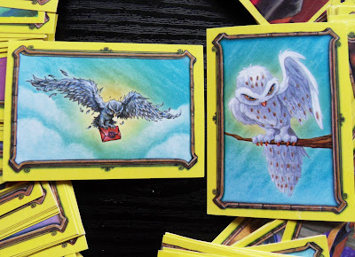 Owls on Harry Potter cards