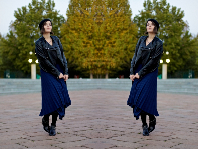 look with long blue skirt and black 