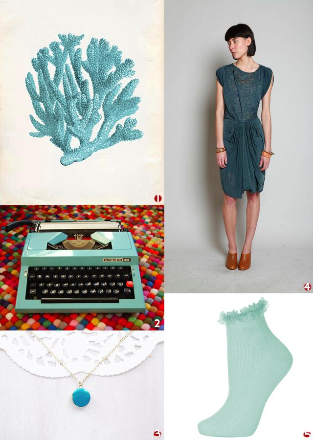 coral vintage print, teal typewriter, enamel necklace, jersey isabel marant dress, topshop socks