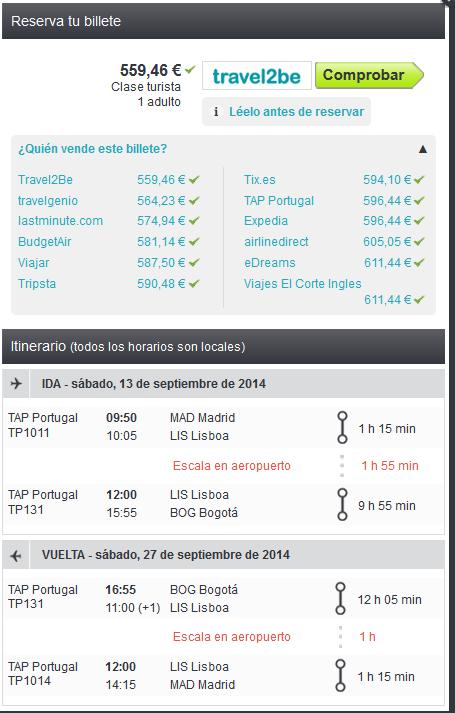 Vuelo a Bogotá con TAP