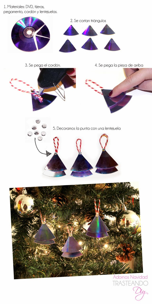 Diy adornos de navidad reciclando cds trasteando diy - Adornos navidad diy ...