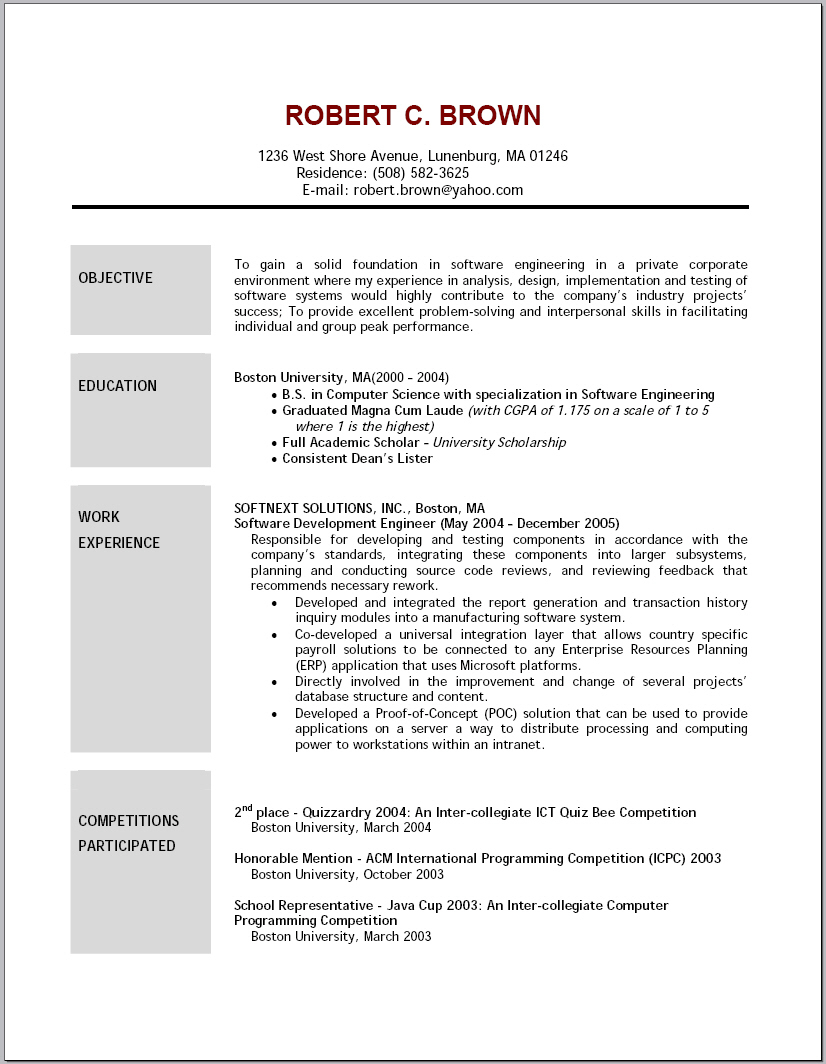 resume template sample cna job