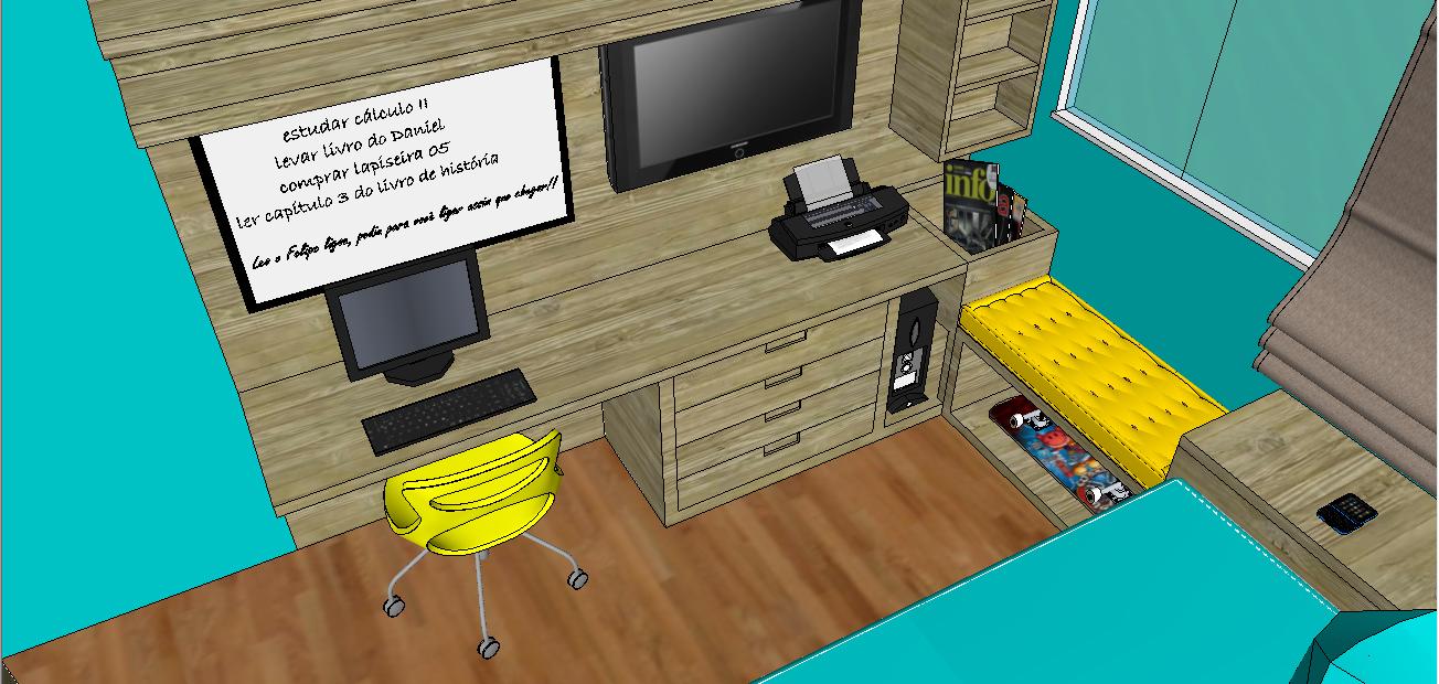 decoracao quarto azul turquesa e amarelo:Entre a bancada e a cama sugeri um banco e embaixo dele um espaço