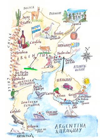 Maps Illustrated Illustrated Maps - Argentina map key