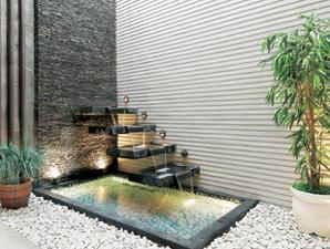 Desaian Rumah on Taman Dengan Efek Air Dan Bambu