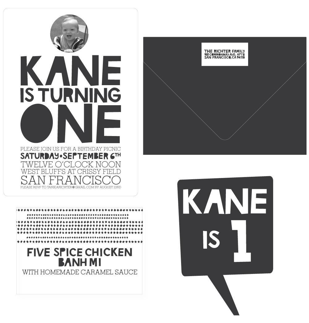 &chloe: kane is one // birthday invitations, cake topper, banner ...