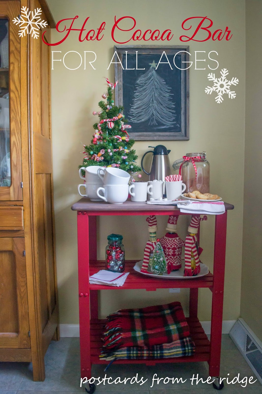 Themed furniture makeover ~ A hot cocoa bar that everyone will love! So much fun!