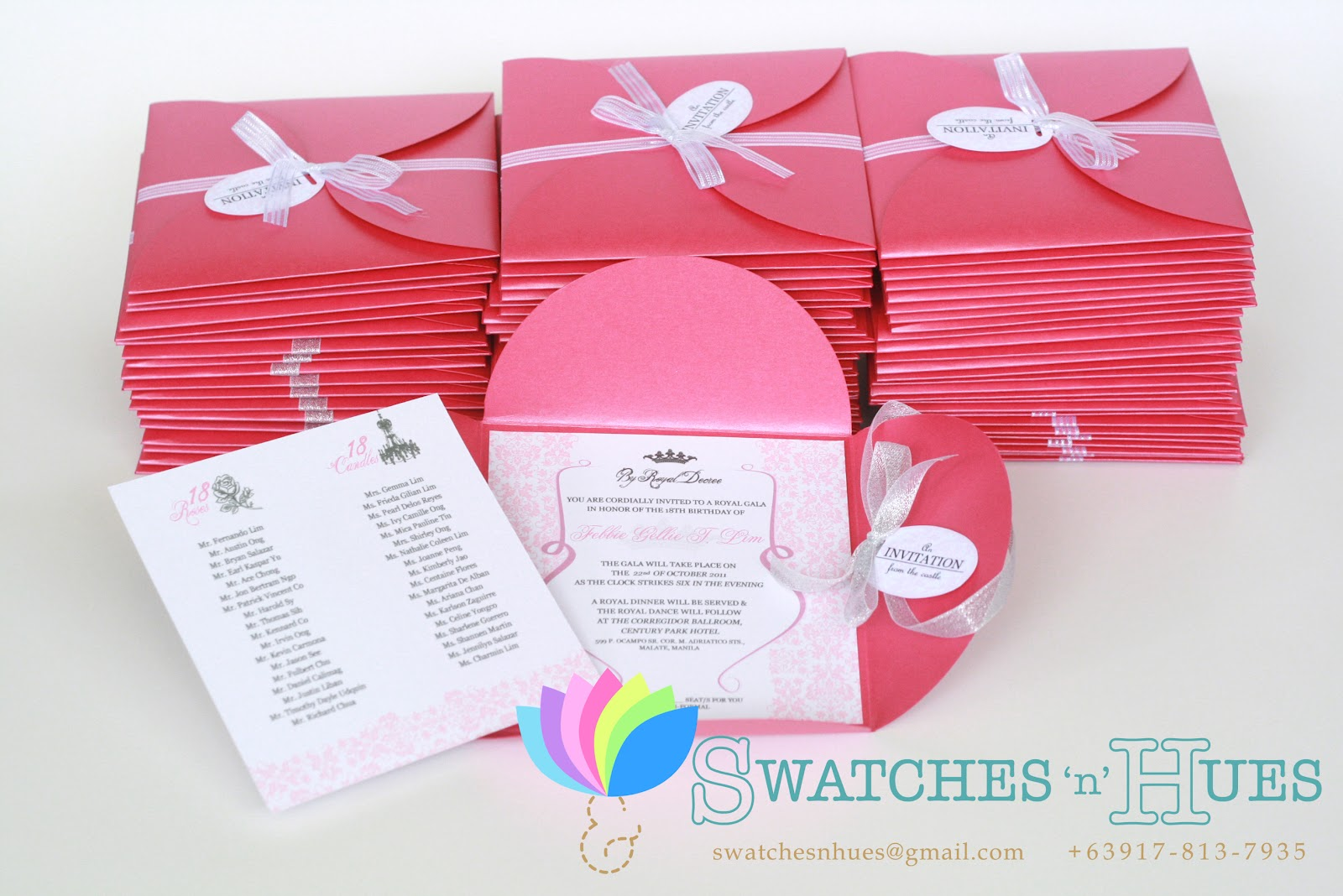 Swatches hues handmade with tlc princess themed petal fold princess themed petal fold debut invitation stopboris Choice Image