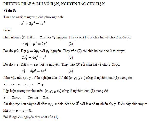 Phương pháp giải phương trình nghiệm nguyên - lùi vô hạn, nguyên tắc cực hạn