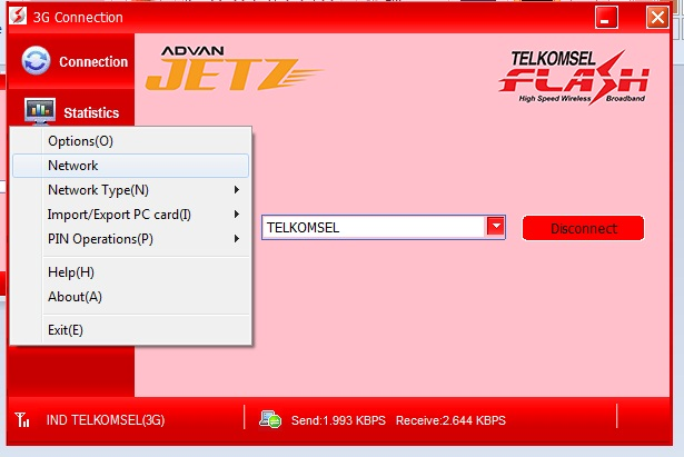 Setting 3G Telkomsel Flash Di Modem ADVAN JETZ