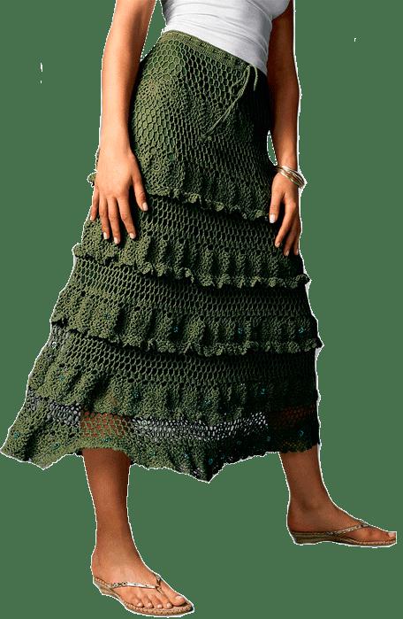 зеленая летняя юбка с ажурными оборками