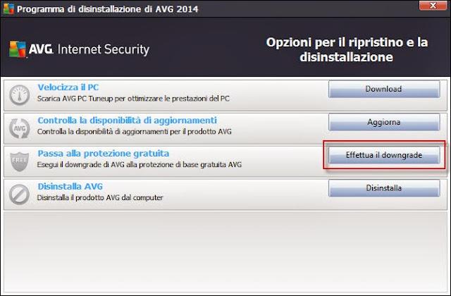 Clicca su Effettua il downgrade AVG