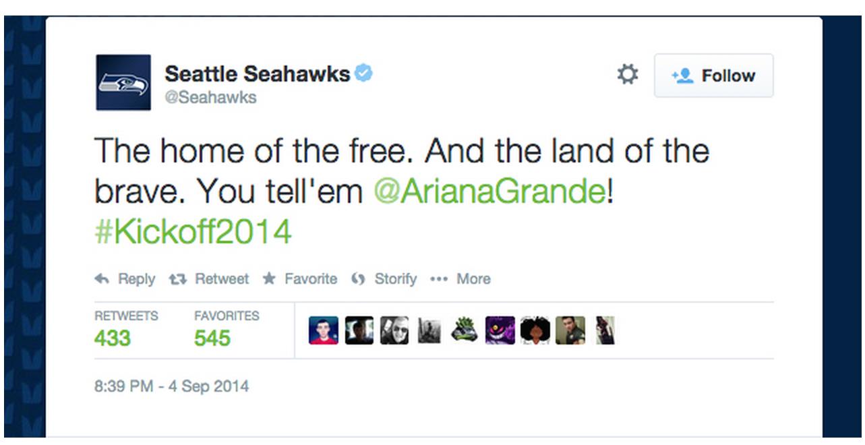 Seahawks Ariana Grande Tweet