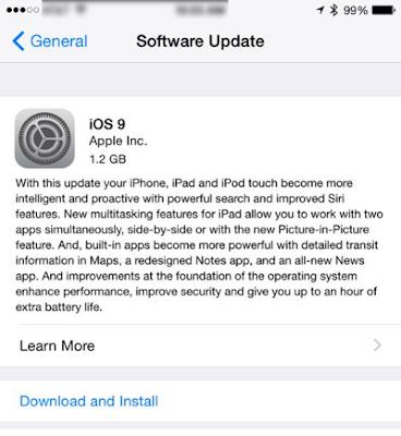 iOS 9 OTA from iOS 8.4.1