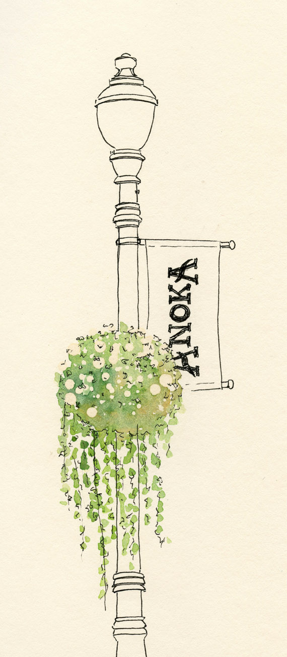ink drawing of a lamp post and hanging flowers