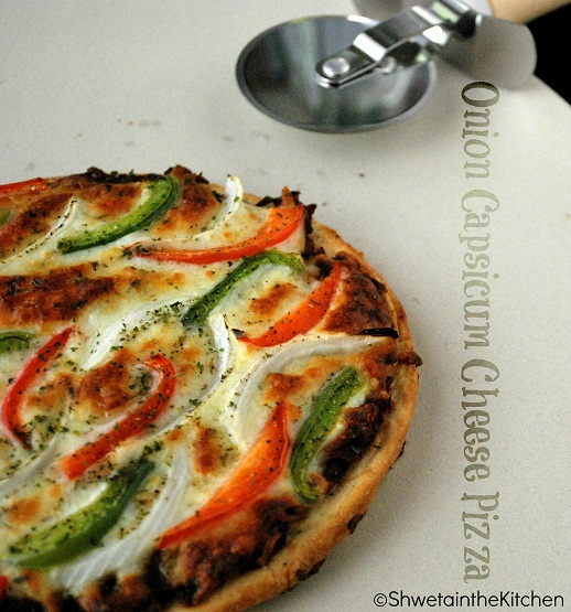 Shweta in the KitchenOnion Capsicum Cheese Pizza